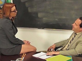 Huge Breasted Red Haired University Secretary Britney Amber Rides Prof's Dick