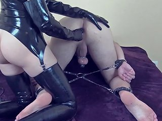 Mistress Milking Prostate Her Tied Slave Till He Great Cum In Chastity Cage