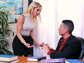 Lewd Assistant In Stockings Khloe Kapri Gets Her Pussy Licked And Fucked By Horny Boss