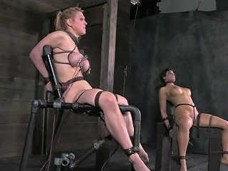 Juggy Blond Student Gets Her Nipples Shot With Electrical Shock