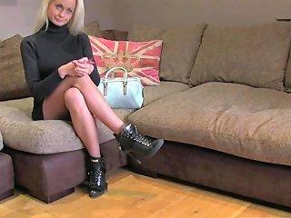 Blond Finland Casting Babe Cumsprayed