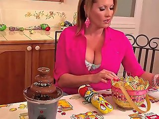 Laura M Enjoys Playing With Food