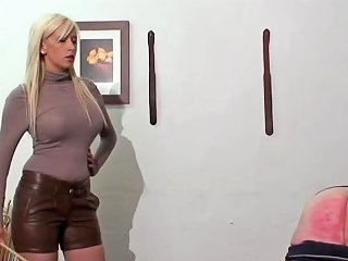 Caning Punishment By Hot Young Blonde Mistress In