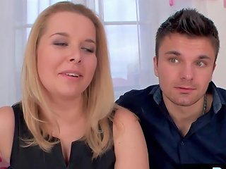 Blonde Wife Fucks While Husband Watches Porn Videos